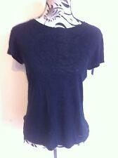 Diesel T-shirt 100%silk Black Top Ladies Size S(10) New