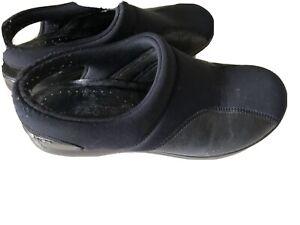 Fly Flot Italian Comfort Wedge Slingback Shoes EU 39 /8.5 Black Leather Fabric