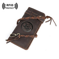 RFID Retro Men's Leather Long Wallet Card Holder Chain Trucker Billfold Purse