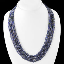 MARVELLOUS 300.00 CTS NATURAL 5 LINE RICH BLUE TANZANITE FACETED BEADS NECKLACE