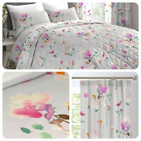 Dreams & Drapes JESSICA Pink Easy Care Bedding & Pencil Pleat Curtains