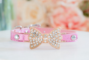 NEW! LUXURY PINK & GOLD Enchanted Pets Rhinestone Collar for Dogs Cats Pets XS