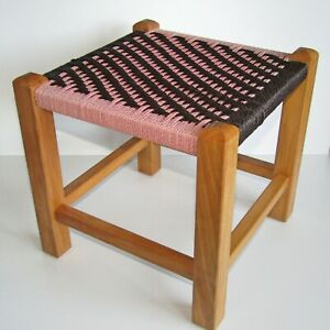Vintage Retro 1980's Wooden Stool Pink and Brown Woven String
