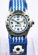 Ravel Boys Girls Childrens 3D Football Watch, Red/Blue Fast Fit Adjustable Strap