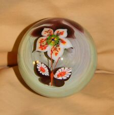 Beautiful Signed Lee Hudin October 1977 BUTTERFLY & FLOWER Paperweight!