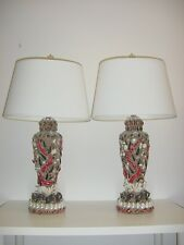 Pair of Large Red Coral and Exotic Shell Encrusted Tony Duquette Style Lamps