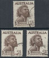 Australia  1952 - 1965  2/6d  Aborigine  SG 253, 253b & 253ba  good used