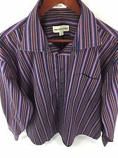Pronto Uomo Mens Large Purple Striped Long Sleeve Button Front Non-Iron C-51