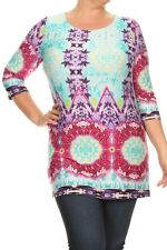 NWT Plus 3XL 20/22 Pink Aqua Purple Stretch Tie Dye Tunic Blouse Top Travel Knit