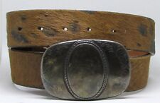 GENUINE FULL GRAIN LEATHER BRAVE BELTWORKS UNIQUE HAIR BELT_SILVERPLATE S-36