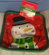 "2 SAME POT HOLDERS, SNOWMAN, (7"" x 7""), green back"