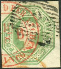 Sg 54 1/- Pale Green DIE 2. A very fine used example with Red Receiving Postmark