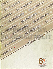 1989 Pontiac Sunbird Shop Manual 89 SE LE GT Original Service Repair Book OEM