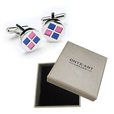 Mens Circular Pink & Blue Cufflinks & Gift Box By Onyx Art