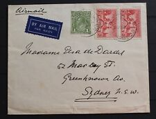 D7197 AUSTRALIA air mail cover with 1d green KGV & pair of 2d centenary of SA