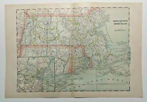 1894 Vintage MASSACHUSETTS & RHODE ISLAND Atlas Map Encyclopedia Britannica