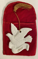 1981 White Ceramic Dove & red felt Bag Christmas Ornament  AVON CollectIble