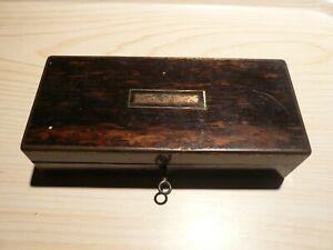 Antique Coromandel wooden box. Brass bound & key . Straight razor box ?.