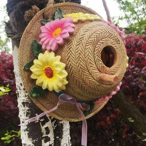 Wall Sculpture Fence Straw Hat Outdoor Birdhouse Garden Tree Hanging Decor