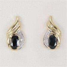 Natural Sapphire & Diamond 9ct 9k Solid Gold Stud Real Earrings Bravo Jewellery