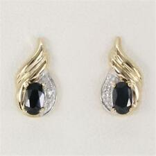 Natural Sapphire & Diamond 9ct 9K Solid Gold Stud Real Earrings