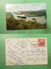 1959 CANAL ZONE GAILLARD CUT PANAMA PAQUEBOT SHIP POSTCARD