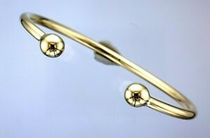 9ct Yellow Gold Hallmarked Wire Plain Ball End Torque Bangle -19.9 Grams