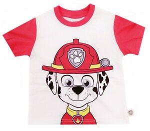 Boys Girls Paw Patrol T Shirts Top Character Top Marshall Rubble Zuma Kids 2-7 Y