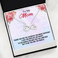 To My Mom Necklace Infinity Heart Pendant For Mother Thankful Gift You Are World