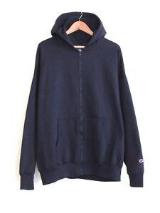 EUC 90s Vintage Champion Mens Full Zip Hoodie Navy XL Sweatshirt Fleece Cotton