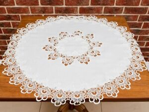 Chic round lace victorian style tablecloth cream white home decoration