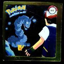 POKEMON STICKER ENGLISH CARD 50X50 1999 GOLD N° R10 ONIX + PIKACHU