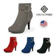 DREAM PAIRS Women's Faux Fur Ankle Boots Platform High Heel Side Zipper Boots