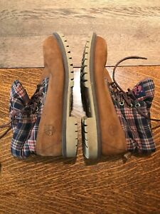Timberland Plaid Roll Top Boots 36986M Boys Youth Wheat Brown Tan Size 6