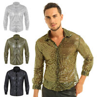 Mens Sequin Mesh Sheer Clubwear Shirt Long Sleeve Dance Performance Tops T-shirt