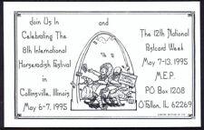 Modern Postcard by Rick Geary. Horseradish Festival & National PC Week, May 1995