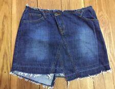 Oasis Denim Mini Skirt Size 10 Dark Blue Wash Asymmetric Raw Hem Jean Casual