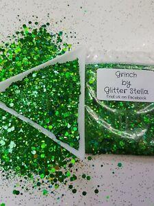 Nail Art Christmas Glitter ( The Grinch )10g Bag Chunky Xmas Holographic Green
