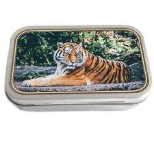Tiger Design Slim Hinged 1oz Tin Tobacco Storage Pill Box Fishing Jewellery