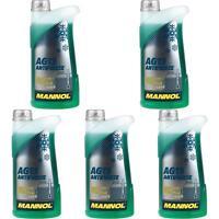 5x1 Liter MANNOL Kühlerfrostschutz Typ G13 Antifreeze Kühlmittel -40°C grün