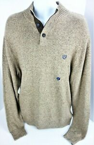 Large Chaps RL 3 Button Sweater Pullover Natural Heather Brown Knit Henley