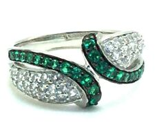 Sterling Silver 925 Green Tsavorite Pave CZ Cluster Curved Wave Cocktail Ring