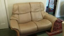 Ekornes Stressless Beige / Camel coloured 2 seater  reclining leather sofa