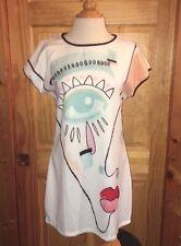 Candy Kok Dress Size Small Geometric face lips kiss Multi-color  swing Designer