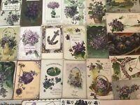 Lot of 25 Pretty *Purple~Violets Flowers~Vintage~Floral Greetings Postcards-a75