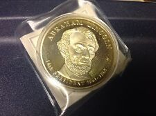 Abraham Lincoln Commemorative Coin Presidential Dollar Trials Gold Plated COA