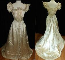 !! ORIG ANTIQUE VICTORIAN BELL EPOCHE 1890s SATIN BALL WEDDING GOWN BOSTON DRESS