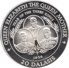 1994 Silver Proof Coin 20 Dalasis THE GAMBIA Lady of the Century + COA