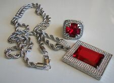 MEN'S SILVER FINISH/RED DRESSY/PARTY WEAR CHAIN/PENDANT/RING SIZE 13