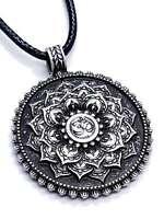 Mandala Pendant Silver Buddha Tibetan Lotus Flower Healing Necklace UK Seller